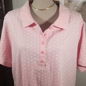 Laura Scott polka dots pink  polo shirt. Size 2X